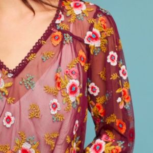 Anthropologie Ruffle Giralda Blouse Embroidered XS